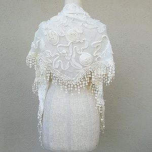 Cream chiffon scarf
